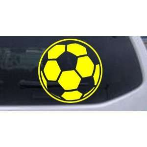 Soccer Ball Sports Car Window Wall Laptop Decal Sticker    Yellow 12in
