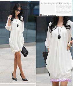 Ruffle Women Fashion Graceful Chiffon Round Neck Casual Dress M 0150