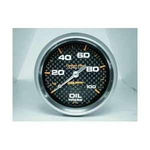 Auto Meter 4821 Carbon Fiber 2 5/8 0 100 PSI Mechanical Oil Pressure