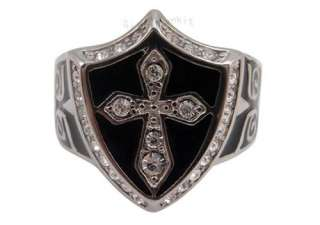 Size 10 Mens Silver Black Crystal Cross Knight Badge Stainless Steel
