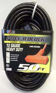 50 12 Gauge Heavy Duty Cord with Triple Outlet