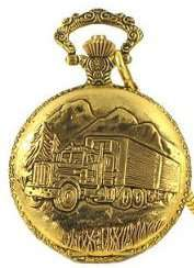 Semi Truck Pocket Watch with 14 Clip on Chain Jewelry