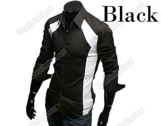 New Fashion Mens Luxury Casual Stylish Slim Long Sleeve Shirts Two