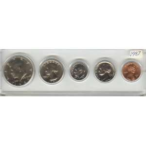 1987 BIRTHYEAR COIN SET 5 COINS  HALF DOLLAR, QUARTER,DIME