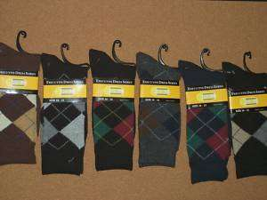 pair EXECUTIVE MENS ARGYLE Dress Socks 10 13 701953019124