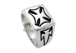 Size 10 Mens Silver Gothic Cross Stainless Steel Ring