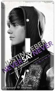 JUSTIN BIEBER NEVER SAY SINGLE LIGHT SWITCH COVER PLATE