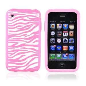 for iPhone 3GS Silicone Case Zebra Baby Pink & Screen