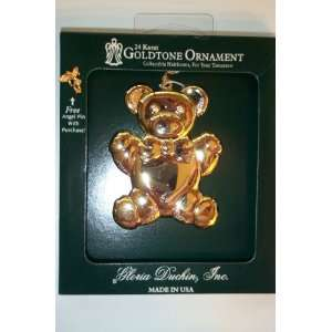 24k Goldtone Gloria Duchin Christmas Ornament   Teddy Bear