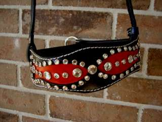 NOSEBAND BARREL RACING BLING TACK BLING BLACK RED TACK
