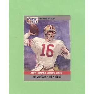 Joe Montana 1990 Pro Set Football (MVP Superbowl XXIV