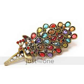 new antique colorful rhinestone peacock hair clamp clip article nr