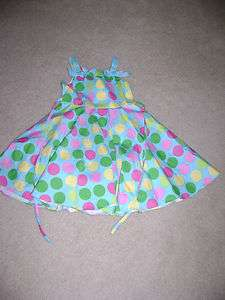 RARE EDITIONS TURQUOISE POLKA DOT DRESS SUNDRESS, SIZE 6