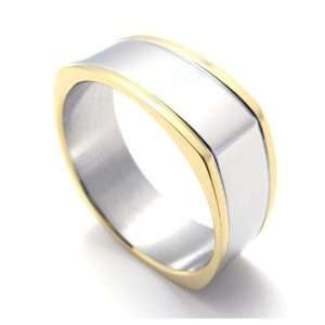 Mens Gold Banding Stainless Steel Square Ring   Size 7