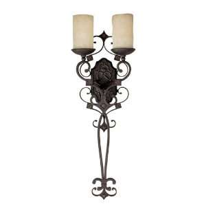 River Crest 2 Light Wall Sconce in Rustic Iron with Rust Scavo glass