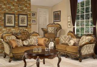 LoveSeat, Chair & Table 4 Piece Set Antique Style Traditional HD 260