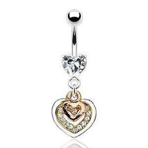 316L Prong Set Gem Belly Ring with Triple Tone Gem Pave Heart Dangle