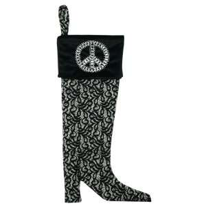 Handmade Christmas Stocking   Lady of Peace   Black