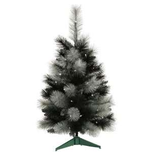 3 Pre Lit Black Ash Artificial Christmas Tree   Clear
