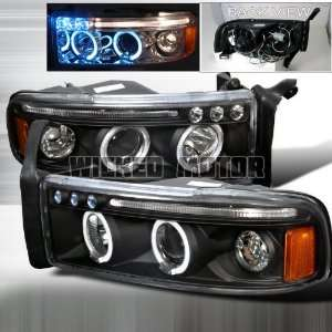 01 Dodge Ram Halo LED Projector Headlights   Black Clear Automotive