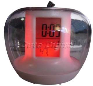 New Cute Apple Shape Digital Alarm Clock Thermometer