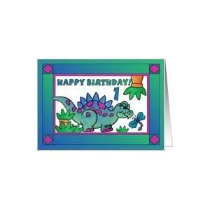Little Dinosaur and Dragonfly Happy Birthday 1 yr old Card