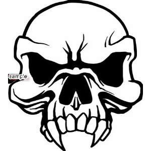 ANGRY SKULL FACE WITH LARGE FANGS SKULL WHITE VINYL DECAL