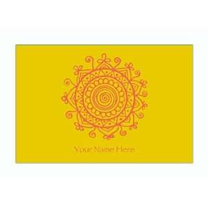 Personalized Stationery Note Cards with Medallion   Mimosa