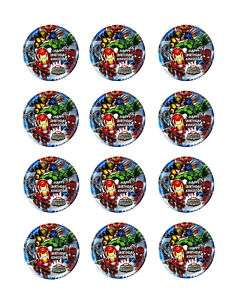 SUPER HERO SQUAD Edible CUPCAKE Image Icing Toppers