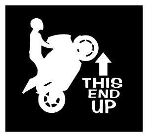 THIS END UP STUNT BIKE DECAL STICKER RACING SPEED ROW