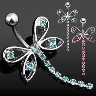 BUTTERFLY CZ BELLY NAVEL RING GEM CHAIN DANGLE B473