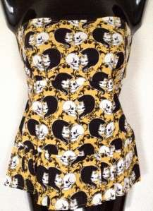 TOO FAST CLOTHING STELLA TOP LOVE SKULL STRAPLESS PUNK PINUP L XL