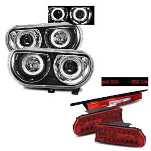 08 10 Dodge Challenger Black CCFL Dual Halo Projector Headlights + LED