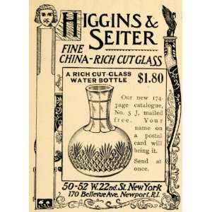 1895 Ad Higgins & Seiter China Cut Glass Water Bottle
