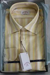 Delsiena ITALY Mens Yellow striped Dress Shirt New in Box SKU 4