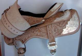Lite Oil Oak Leaf Silver Plated Western Trail Show Saddle