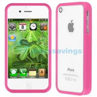 Bumper Pink Shinny TPU Rubber Gel Case Cover+PRIVACY Protector for