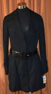 INTERNATIONAL CONCEPTS INC BLACK TRENCH COAT JACKET WOMENS LADIES