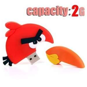 Birds Design 2GB USB Flash Drive Flash Memory U Disk   Red Bird