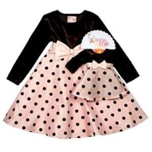 GIRLS 2T, 3T or 4T Dollie & Me Pink&Dots Dressy DRESSES