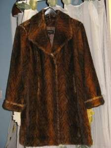 ladies womens winter brown faux fur mink long coat jacket plus size