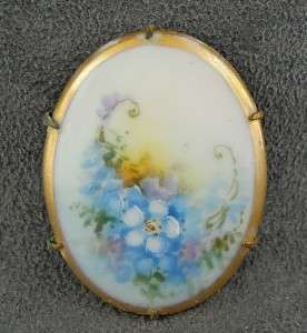 Antique Hand Painted Porcelain Pin Blue Flowers Gold Gilt Edge Floral