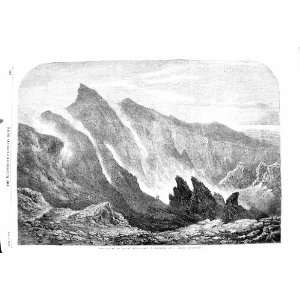 1860 CRATER MOUNT ETNA MOUNTAIN VOLCANO READ PRINT
