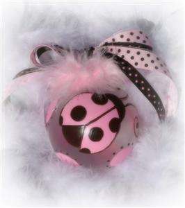 Painted MOD pink brown Ladybug Christmas ornament baby shower