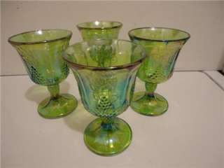 INDIANA VINTAGE RARE GREEN CARNIVAL GLASS HARVEST GRAPE PITCHER & (4