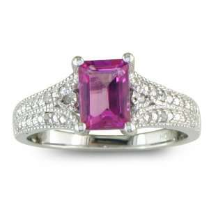 Sterling Silver Pink Topaz and Diamond Ring (1 1/2 cttw) Jewelry