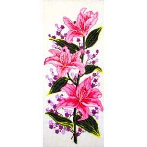 PINK TIGER LILIES NEEDLEPOINT CANVAS Arts, Crafts