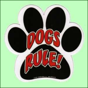 Humorous Paw Print Dogs Rule Car / Fridge Magnet New