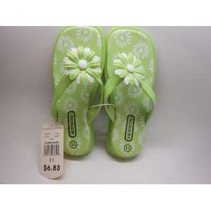 Flower Power Girls Flip Flops Size 10 Color GREEN