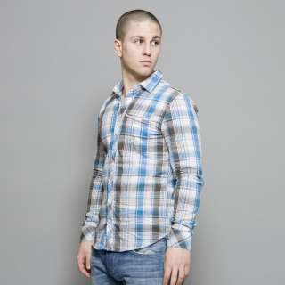 Diesel Blue and Grey Checked Saisati Long Sleeve Shirt
